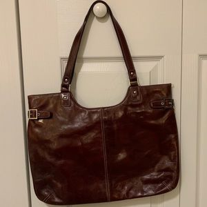 Leather burgundy lined Nordstrom bag